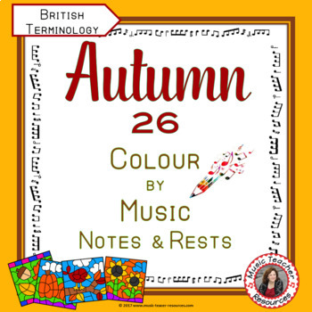 AUTUMN Music Colouring Sheets: 26 Music Colouring Pages