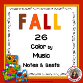 Fall Music Activities Color by Music Notes and Rests Sheets