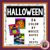 Halloween Music Coloring Sheets: 26 Color by Notes and Rests Pages