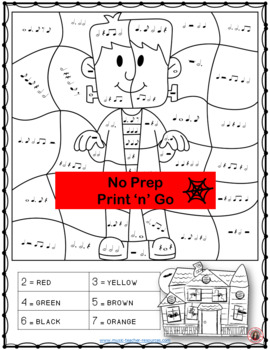 Halloween Music Activities Color by Music Notes and Rests
