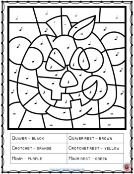 Halloween music colouring sheets 26 colour by music pages for Music notes coloring page