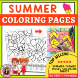 Music Activities - SUMMER Color by Music Notes and Rests