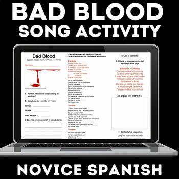 Music Activity: Bad Blood (Spanish Version)