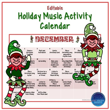 Music Activity Christmas Advent Calendar (Editable)