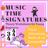 Music Time Signatures 2/4, 3/4 and 4/4 Theory Worksheet( P