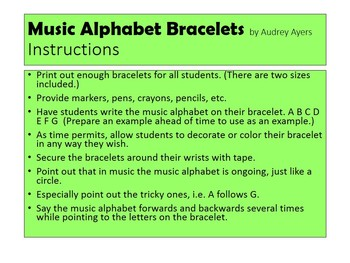 "Music Alphabet Bracelets-- a ""take home"" or craft/activity for music"