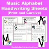 Music Alphabet Handwriting Practice Sheets
