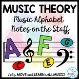 Music Theory Lessons: Alphabet, Notes, Pitch, Games, Song, Presentation {Unit}