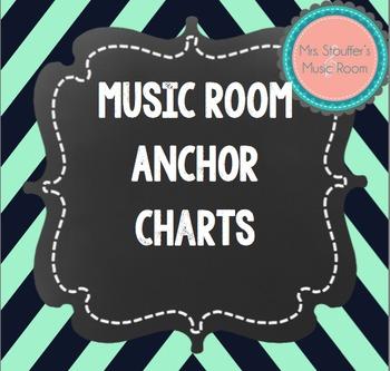 Music Anchor Charts Navy & Mint Chevron Chalkboard Theme