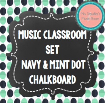 Music Anchor Charts Navy & Mint Dot Chalkboard Theme