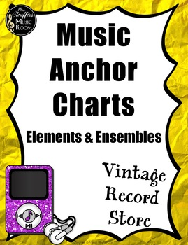 Music Anchor Charts {Vintage Record Store} Rainbow Glitter