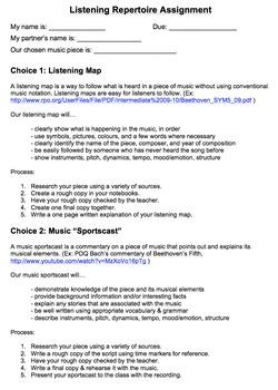 Music Appreciation / Analysis Listening Repertoire Assignment
