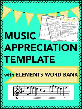 Music Appreciation Template with Elements of Music Definition Word Bank