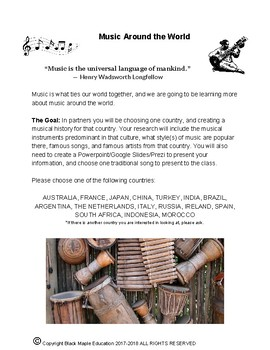 Music Around the World Inquiry Project