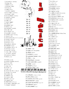 Music & Art Spanish Vocabulary pages