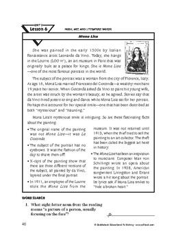 Music, Art, and Literature Words-Mona Lisa
