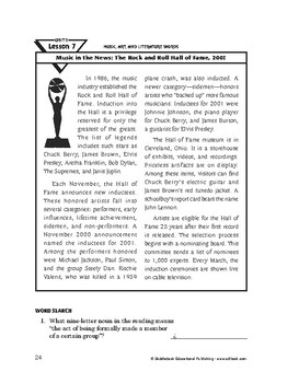Music, Art,&Literature Words-Music in the News:The Rock & Roll Hall of Fame,2001