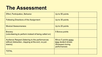 Music Assessment - Performance Rubric