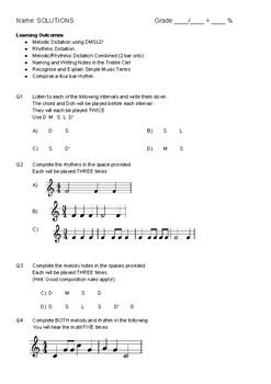 Music Assessments 1&2 Bundle (Simple Composition, Melody, Dictation and Terms)