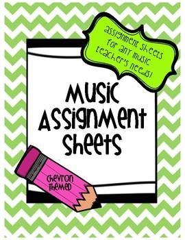 Music Assignment Sheet: Chevron Themed