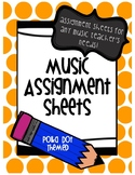 Music Assignment Sheet: Polka Dot Themed