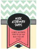 Music Assignment Sheets