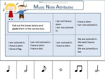 Music Attributes Activity--Music Notes, Symbols-GATE-cut and paste