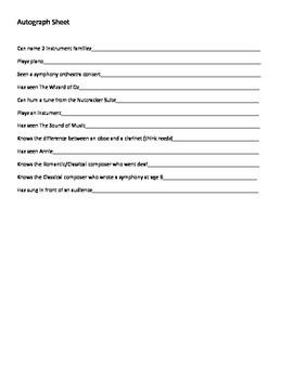 Music Autograph sheet Icebreaker