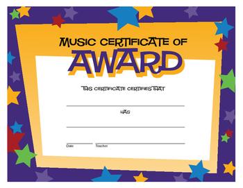 Music Award Certificate with Stars (Digital Print)