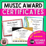 Music Certificates: *editable* Music Award Certificates
