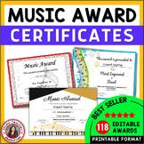 Music Awards: *editable* Music Award Certificates