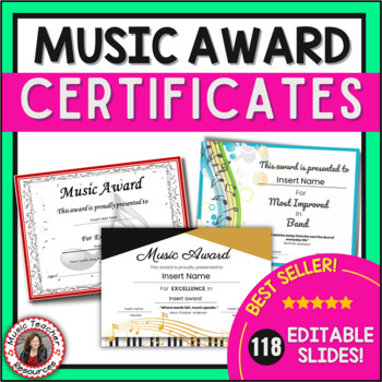 End of the Year Music Awards: *editable* Music Award Certificates