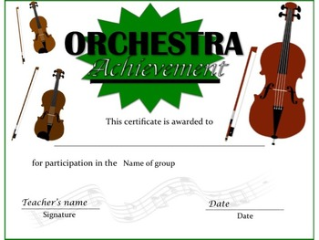 Music Awards - Orchestra Certificates