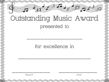 Music Awards and Certificates (Band, Orchestra, Chorus, Choir, Music, Blank)