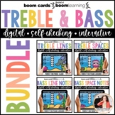 Music BOOM Cards BUNDLE: Treble & Bass Lines & Spaces for