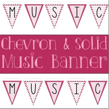 Music Banner Pink Chevron and Solid