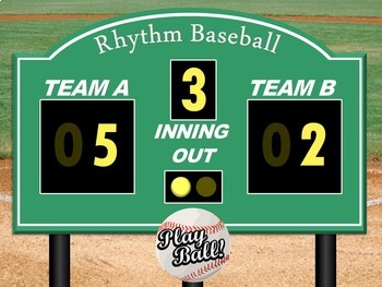 Treble Clef and Rhythm Level 1 - Music Baseball PowerPoint Game Bundle