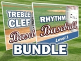 Music Baseball PowerPoint Game Bundle - Treble Clef and Rh