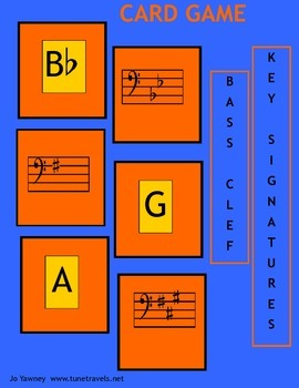 Music: Bass Clef Key Signatures Card Game