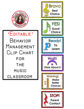 Music Behavior Clip Chart - 'EDITABLE'