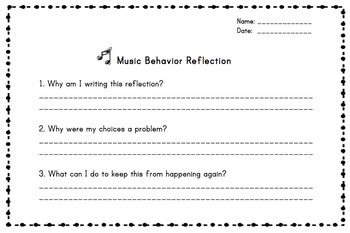 Music Behavior Reflection Form