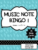 Music Note Bingo 1:  Ti-Ti, Ta, Half Note, Quarter Rest, H