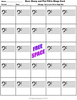 Music Bingo- Bass Sharps and Flats Fill-In Card