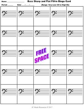 Music Bingo- Bass Sharps and Flats Fill-In Card