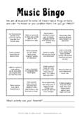 Music Bingo /Choice Board (Distance Learning)