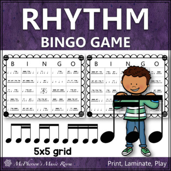 2 Sixteenths & 1 Eighth Note Rhythm Bingo Game (tiri-ti)