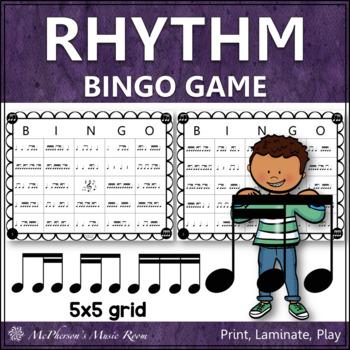 2 Sixteenths & 1 Eighth  Note Rhythm Bingo Game (tiri-ti)