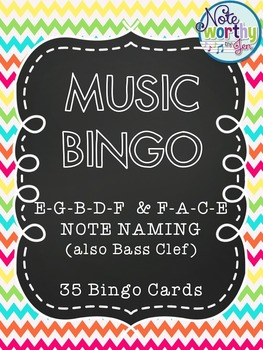 Music Bingo Lines and Spaces {Treble or Bass Clef}