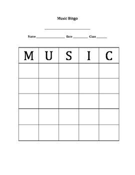 Music Bingo Printable
