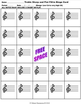 Music Bingo- Treble Sharp and Flat Fill-In Card